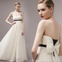 Elegant elegant bow tube top sexy formal dress one-piece dress 118970