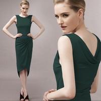 Fashion thin asymmetrical sweep pumping 80062 one-piece dress