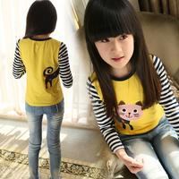 free shipping new arrival  spring 2014 stripe girl's basic shirt child basic shirt little girl's long-sleeve T-shirt