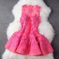 2014 spring and summer gauze three-dimensional flower patchwork organza one-piece dress fluffy vest princess dress