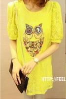 Short-sleeve female loose puff sleeve cutout crochet lace one-piece dress short-sleeve cute basic shirt