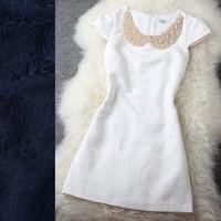Fashion ladies elegant jacquard white small evening dress spring and autumn navy blue gentlewomen one-piece dress