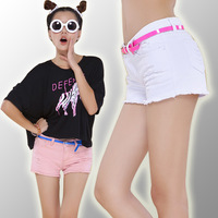 Spring and summer female autumn and winter all-match hole white 100% cotton denim shorts plus size