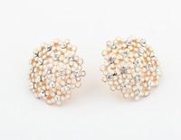 Free shipping aretes pequenos new design shining ladies small earrings summer fashion rhinestone flower stud earrings 2014