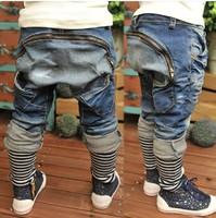 2014 summer new arrival wholesale hot sell fashion big zipper pocket striped haren kids handsome boy denim pants children jeans