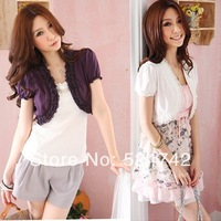 Free Shipping Ladies Womens Fashion Sweet Shrug Lace Trim Bolero Capelet /Wraps Tops Purple,White ,Pink U Choose