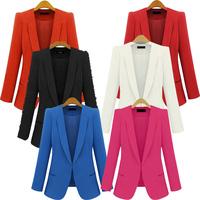 New 2014 Blazer Women  Basic Jackets women blazer slim coat Candy Color Blazers suits for women  plus size women white blazer