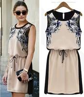 2014 New Printed Dress Summer Pinched Waist Chiffon Casual Dress Women Sleeveless dress Knee Length Vintage Girls