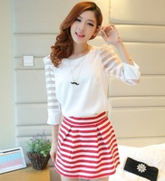 Set organza patchwork stripe three quarter sleeve shirt chiffon high waist hip slim pleated puff short dress