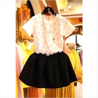 Three-dimensional flower beading short-sleeve half-length one-piece dress summer twinset