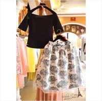 Fashion women's slit neckline organza high waist twinset one-piece dress summer
