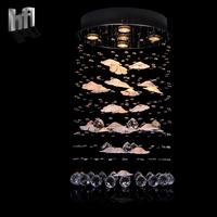 Modern brief k9 crystal petals led steel wire line pendant light stair lighting 5035
