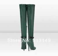 NEW ARRIVAL!! fashion dark green over-the-knee-high female boots green suede pointed-toe women boots with bowtie free shipping