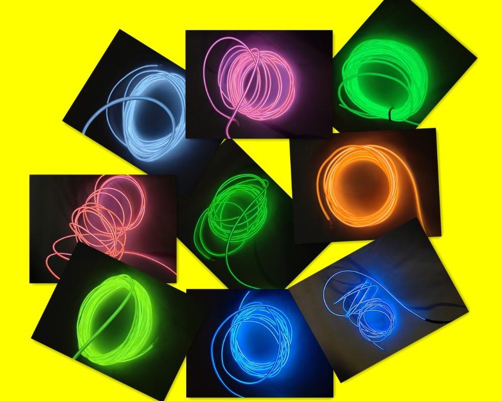 Lemon/Red/White/Pink/Blue/Green/Yellow/Orange/Purple 20m Neon Light 5mm Led EL Tape Wire Free Shipping(China (Mainland))