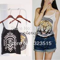 2014 New Arrival Women Adjustable Spaghetti Strap Tiger Print Camisole Chiffon Top Shirt Free Shipping