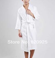 1 X Unisex Womens Men Plain Cotton Spa Sauna Loose Long Gown Bathrobe Sleepwear Soft Bath Robes Nightdress Long Sleeves