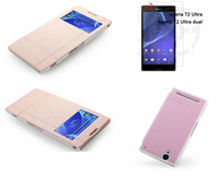 New  Iceland Series Flip leather case With Screen Window+2xFilm For Sony Xperia T2 Ultra / Dual D5322 XM50h