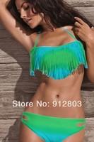 [ANYTIME] 2pcs SEXY 4 clolrs Fashion Tassels Classic Fringe Strapless Dolly Bikini Set Swimwear Bathing Suit