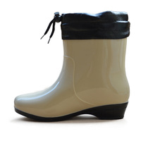 Fashion knee-high plaid women's thermal plus velvet boots female boots rubber shoes intercropping shoes waterproof shoes