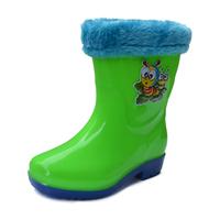 Child rain boots baby rainboots slip-resistant waterproof winter thermal children plus velvet shoes water shoes knee-high