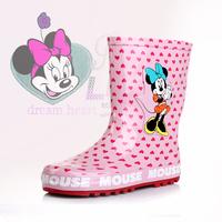 Minnie female child rain boots MINNIE rainboots pink water shoes rubber overstrung child rain shoes