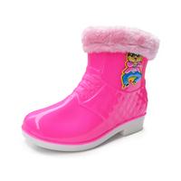 New arrival fashion child rain boots plus velvet thermal rainboots slip-resistant waterproof cartoon style bird