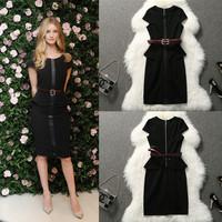 Fashion women summer dress 2014 brand women's fashion ol slim patchwork little black dress china imported clothes