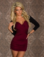 MC17953 Women Dresses Party Long Sleeve Bodycon Dress Autumn Spring Patchwork Ruched Clubwear Sexy Sheath Mini Dresses