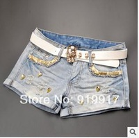 2014 Free Shipping European Denim Female Summer Mid Big Ripped Jeans Female Personality Diamond Skull Shorts With Belt Hot