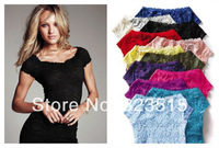 2014 New Arrival Top cute Sexy Floral Full Lace Short Sleeve Tee Shirt Stretch Scoopneck Blouse