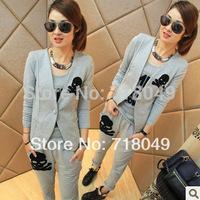 Slim Leisure Sport Suit Cotton Sportswear&Cardigan Sweatshirts+Pullovers Vest+Long Pants&Fashion Women Clothing Set Skull Print