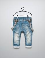 boy  denim suspenders trousers overall pantsboys pants good quality 7 pcs/lot