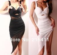 Women's Sexy Low-cut Straps Backless Bodycon Elastic Slim Mini Dress Black/White