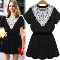 607-8701  Women's 2014 Summer European Style Lace Collar Short Sleeve Elegant Slim Fashion Casual Dress