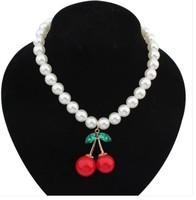 2014Fashion  necklace sweet cherry pearl short design ladies xl554
