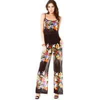 women jumpsuit Flower popular digital print front double layer racerback chiffon overalls