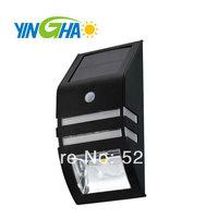 Free Shipping Solar Power PIR Motion Sensor 40LM Ultra Bright LED Light Garden Wall Steel Lamp