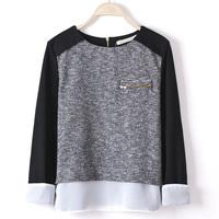 Fashion female zipper sweater pullover