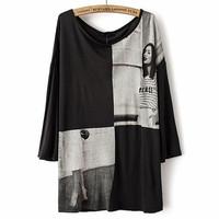 Fashion female three quarter sleeve t-shirt