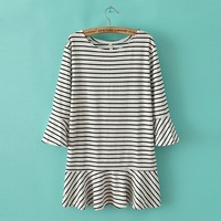 Spring fashion stripe flare sleeve stripe loose one-piece dress lllyq0314tw