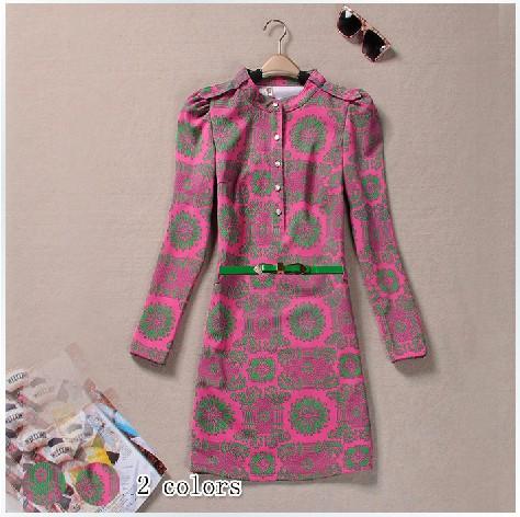 PR036 2014 spring and autumn women's elegant c1056 gentlewomen slim elegant slim waist small stand collar long-sleeve dress(China (Mainland))