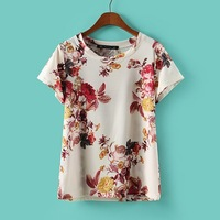 Fashion rich flowers loose short-sleeve casual t-shirt nrbtx0325fgh