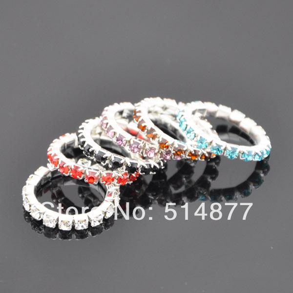 10 pcs Mix Color Crystal Elastic Rhinestone Toe Ring Lady Girl Fashion Jewelry(China (Mainland))