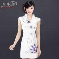 Summer fashion embroidered slim short-sleeve of improved cheongsam one-piece dress vintage chinese style cheongsam dress