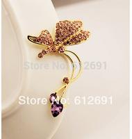 Hot crystal butterfly ear cuffs fashion 2014 non pierced ear clip charms crystal earring for women jewelry on earrings LM-C349