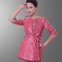 DHL/EMS Free Shipping New genuine leather jacket women long plus size natural sheep jacket sheepskin coat outerwear  TP164