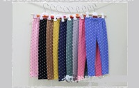 2014 New Korean Style Children kids Girls Lovely Dot Prints Leggings 100% Cotton  Colorful Pants Girl Legging  9 color 1422#
