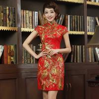 The bride married cheongsam red short design chinese style summer evening dress vintage cheongsam dress