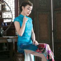 2014 vintage long design diamond high vent cheongsam performance formal dress banquet cheongsam annual meeting of company