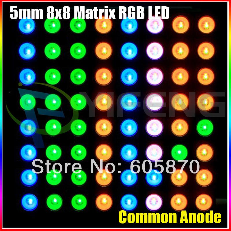 10 pcs 8 x 8 matrice RGB LED Anode commune diffuse Full Colour pour Arduino Colourduino Rainbowduino(China (Mainland))